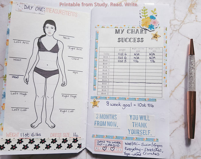 image relating to Printable Fitness Journals called Exercise Magazine and Excess weight Reduction Motivational Planner