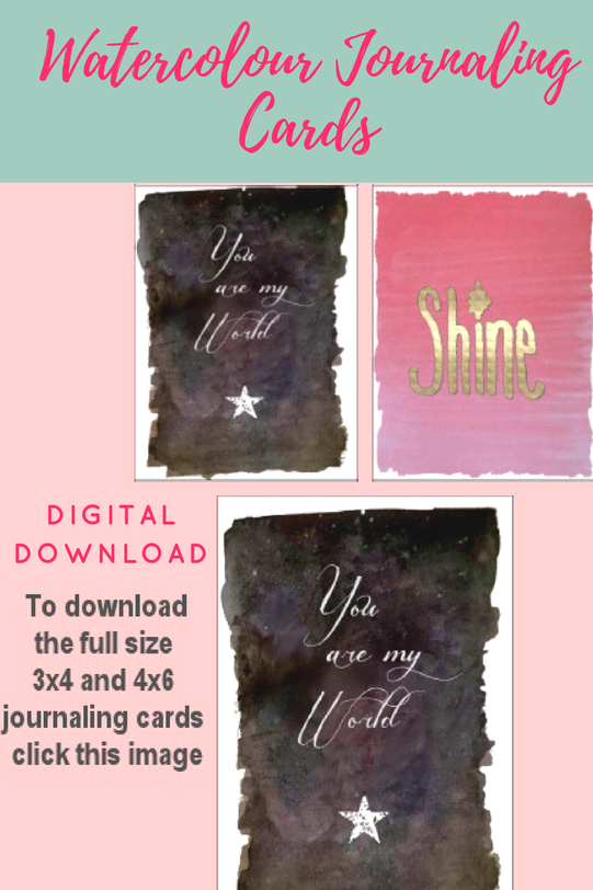 Watercolour 3x4 and 4x6 journaling cards to download - Kerrymay._.Makes