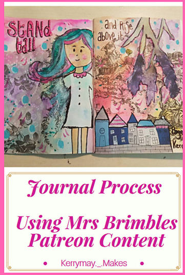 Traveling Art Journal Process using Mrs Brimbles Patreon Content - Kerrymay._.Makes