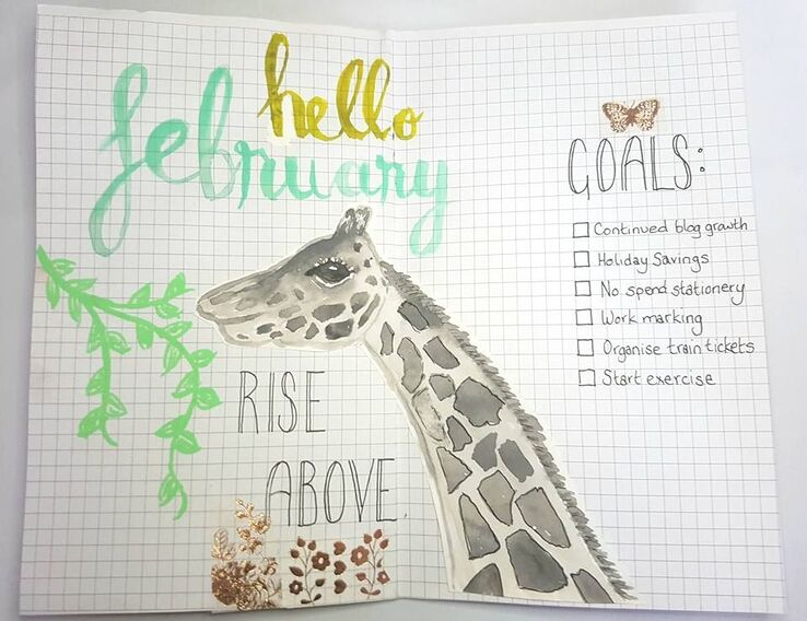 Watercolour giraffe on a grey-scale for my bullet journal using a tutorial from Mrs Brimbles patreon. Kerrymay._.Makes