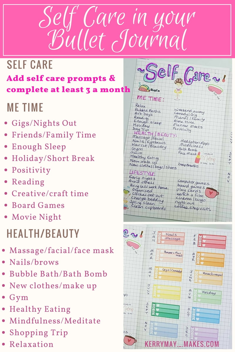 Self Care and Mood Tracking ideas in your Bullet Journal