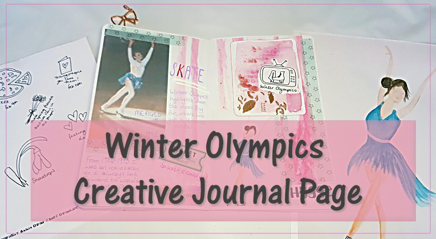 Winter Olympics journal page using resources from Anna Brims February patreon downloads. Includes my watercolour journaling cards - Kerrymay._.Makes