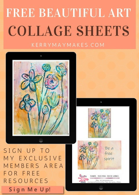 Beautiful flower art work collage sheets to print for your journals or art pages - sign up for free access to these and other goodies - Kerrymay.Makes #artcollagesheets