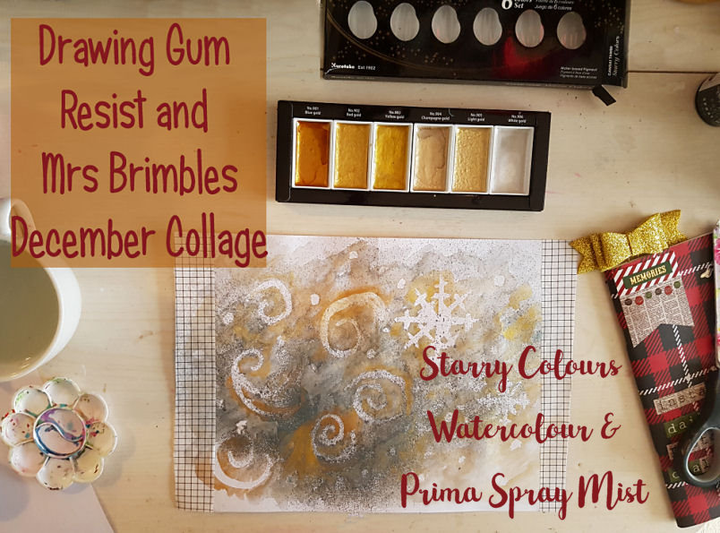 Using drawing gum as a resist on top of Prima Spray Mist and using Gansai Tambi Starry Colours gold watercolour, the effect is berautiful. Includes a video tutorial. Kerrymay._.Makes