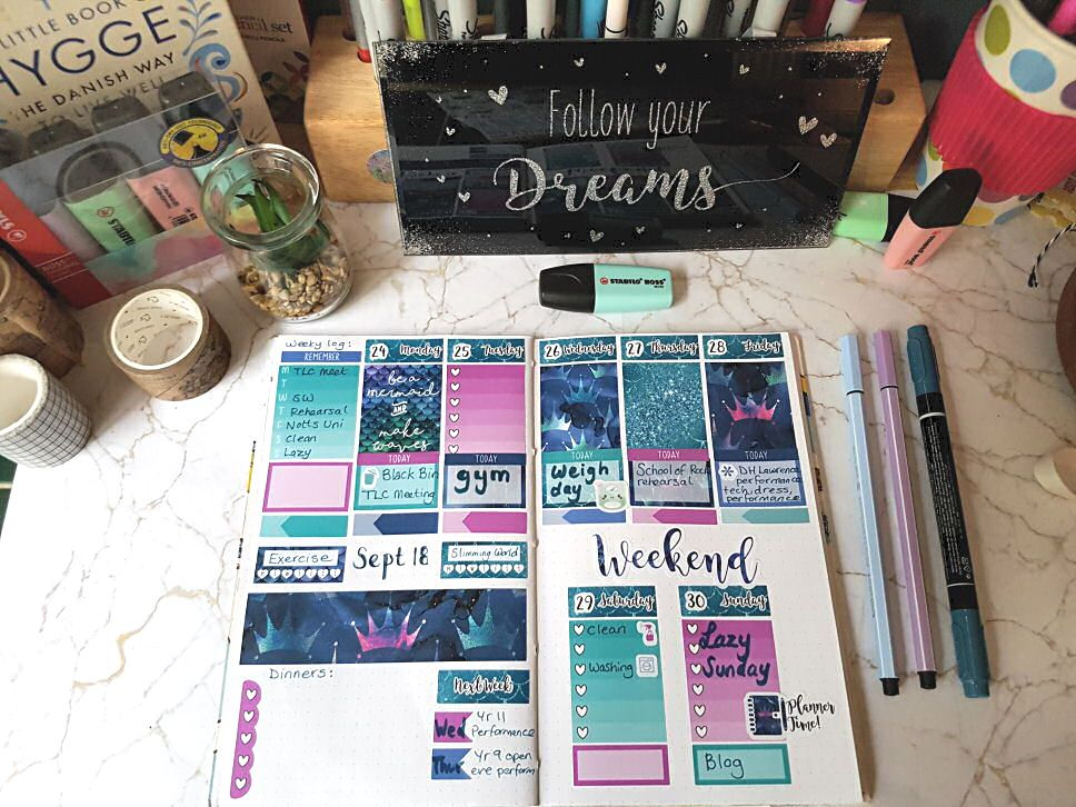 Plan with me mermaid planner layout using a beautiful kit from Hazy Days UK includes a full chatty video #planwithme #pwm #plannerlayout #mermaidplannerkit