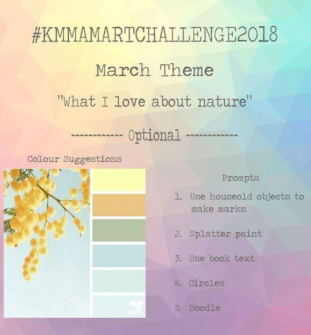 Art Challenge 2018 - March's Prompt. Join us in the Monthly Art Challenge. You can join at any time over at Kerrymay Makes A Mess Facebook Group.