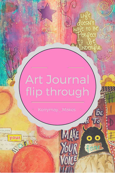 Art Journaling mini flip through of a shared art journal. The journal uses a variety of art techniques such as stamps, distressing pages, watercolour, use of salt, acrylic paint and collage. Kerrymay._.Makes