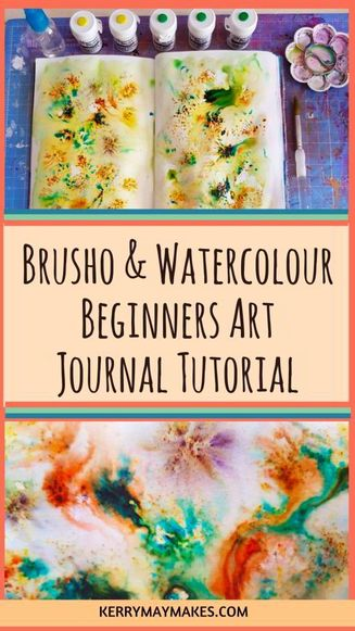 Brusho process video / tutorial for your art journals and journaling using watercolour, wet on wet and Colourcrafts Crystal Colours Brusho. Perfect ideas for creating a page, layout, spread, papers, mixed media and journal / atc cards Includes a cool hack to colour code your tubs using drawing pins. #brusho #brushotutorial #artjournal - Kerrymay._.Makes