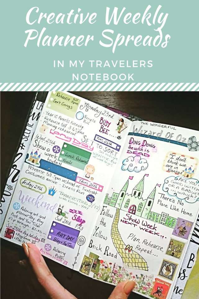 Creative weekly spreads and planner layouts in my Travelers Notebook - Kerrymay._.Makes #plannerspreads #plannerlayouts #creativeplanning