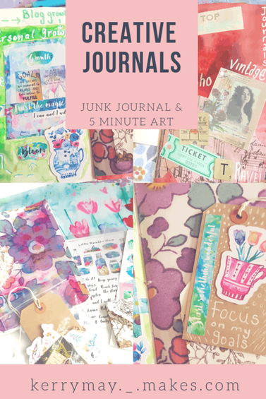 Creative junk journal of my goals and aspirations and a 5 minute quick art journal / creative journal page process video - Kerrymay._.Makes #5minutejournal #artjournal #creativejournal
