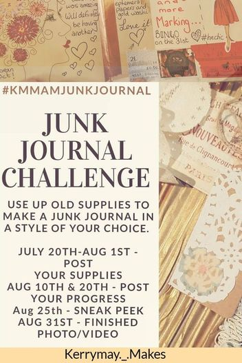 The Junk Journal Challenge will be starting again in my FB Group in August 2018. Join us and make a beautiful journal throughout the month to keep for yourself or to make as a gift #junkjournal #artchallenge #kmmamjunkjournal - Kerrymay._.Makes