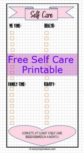 Bujo self care spread ideas and free printable in my Bullet Journal to help remind me to make time for at least 3 self care things for myself a month, includes a free self care printable tracker #bulletjournal #selfcare #bujoselfcare Kerrymay._.Makes