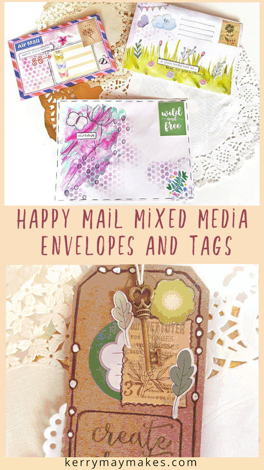 Happy mail ideas and inspiration for creating mixed media decorative envelope art and tags using watercolour and scrapbook embellishments from the April Lollipop Box kit. #happymail #envelopeart #mixedmediatags