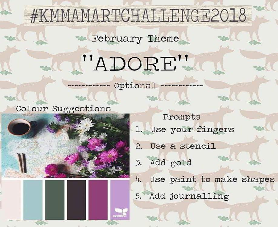 February's Prompt - 12 months of art journaling challenges, one challenge a month with prompts and a place to share and win prizes over on my Facebook group Kerrymay Makes a Mess - Kerrymay._.Makes