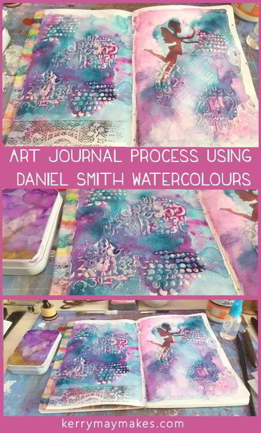 Art journal page created using Daniel Smith Watercolours from a hand poured pan set, complete with a process video - Kerrymay._.Makes
