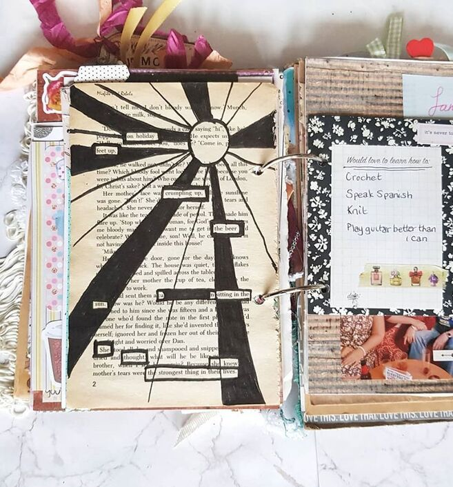 Junk Journal fully completed flip through bound using large rings