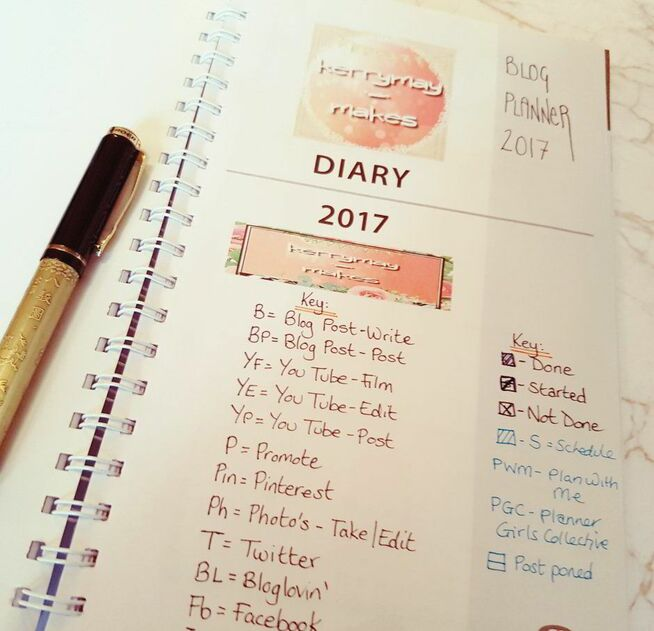 Blog Post Planning key in my planner - Kerrymay._.Makes
