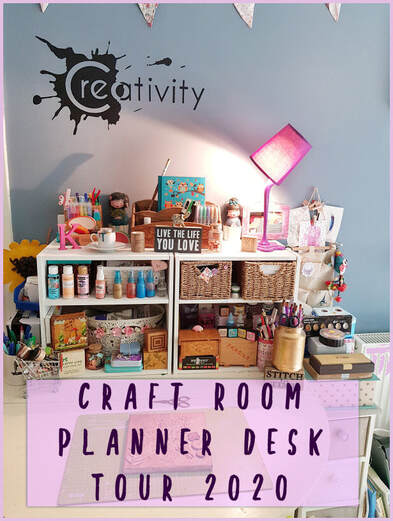 Brand new video tour of my craft and art room and craft studio space, including my fairly new planner desk, art desk, storage and art resources #craftroom #craftroomtour #artstudiotour