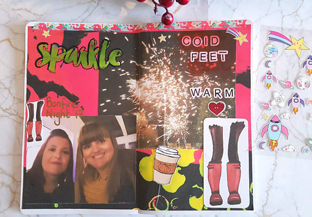 Bonfire Night themed memory keeping page in my creative journal. I have used the October collage sheets and printables from Mrs Brimbles Patreon page - Kerrymay._.Makes
