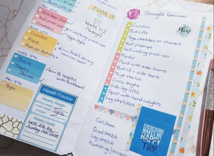Fitness Planner set up and how I track my Weekly and Monthly fitness and weight goals in my journal pages. Kerrymay._.Makes