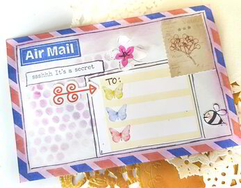 Happy mail ideas and inspiration for creating mixed media decorative envelopes and tags using watercolour and scrapbook embellishments from the April Lollipop Box kit.