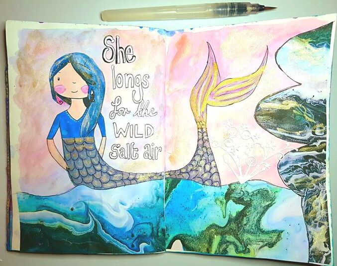 Art journal process of creating a mermaid art page using watercolour and collage sheets from Mrs Brimbles patreon. Kerrymay._.Makes