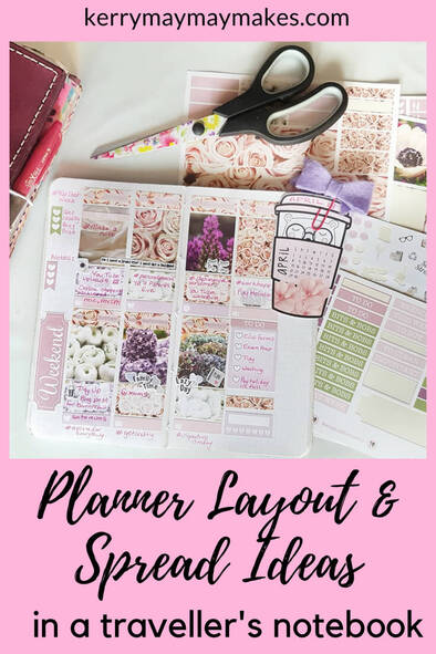 Ideas for planner page spreads and ideas for beautiful layouts in your Travelers Notebook. Here is a round up of 10 ideas and planner inspiration for your planners - Kerymay._.Makes #plannerspreads #plannerinspiration #plannerlayouts