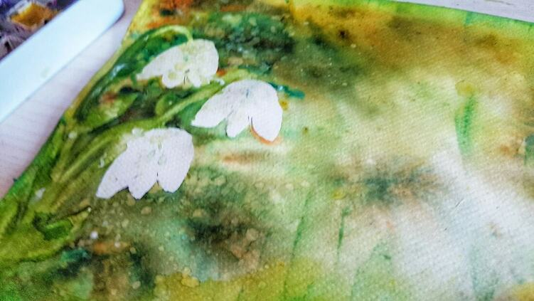 Watercolour and Brusho Snowdrops Art With Me Mrs Brimbles