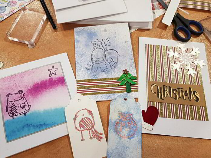 A variety of handmade Christmas cards using paper from the Lollipop Box Club's November box and from a recent stamping workshop at the Mama Makes Christmas get together. I have also made a lovely watercolour card and some festive wrapping and envelopes.