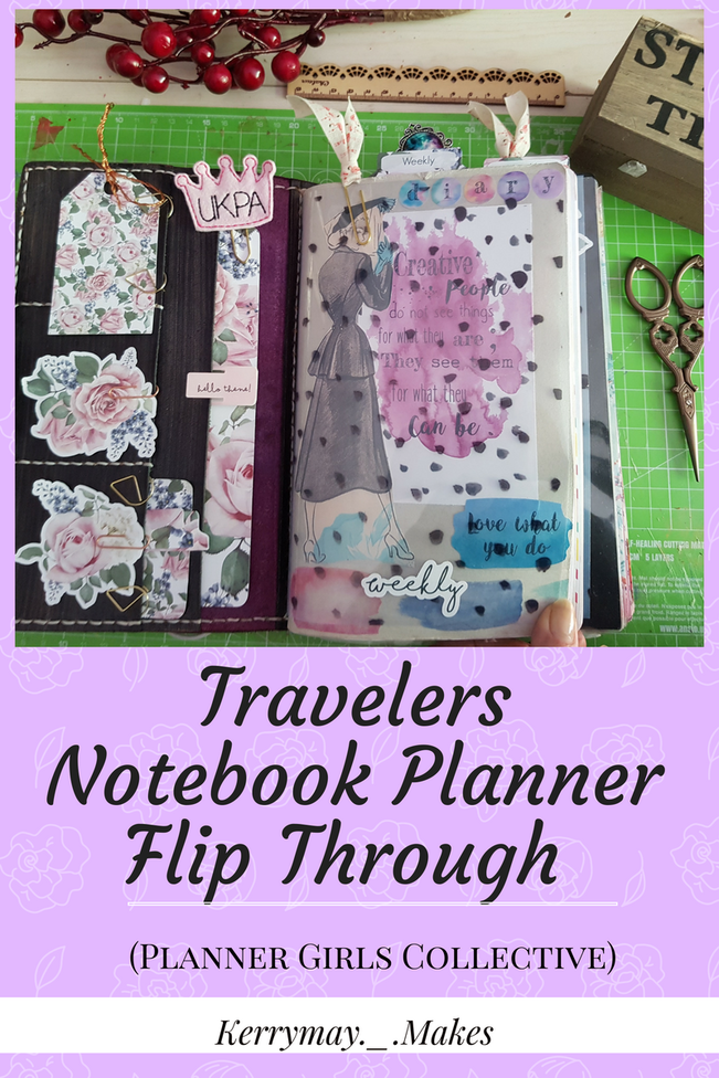 Travelers Notebook Planner Flip Through - 6 monthly review post of my planner set up in my travelers notebook (Uglydori) for the Planner Girls Collective. - Kerrymay._.Makes