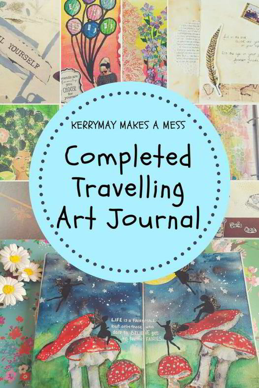 Completed Travelling Art Journal Challenge book and flip through from my Facebook group Kerrymay Makes A Mess #travellingartjournal #artjournal #artjournaling