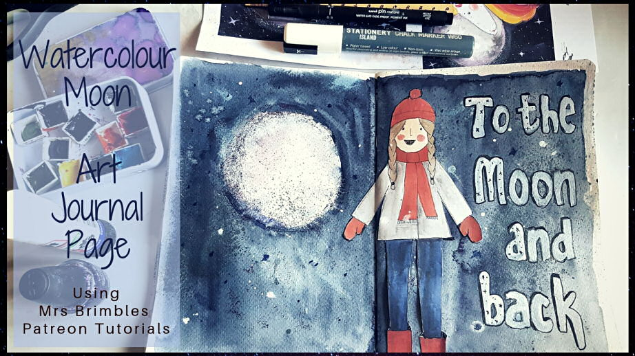 Beautiful art journal page of a watercolour moon in a Wintery theme using Anna Brims Patreon goodies #artjournalpage #artjournalinspiration #artjournalideas