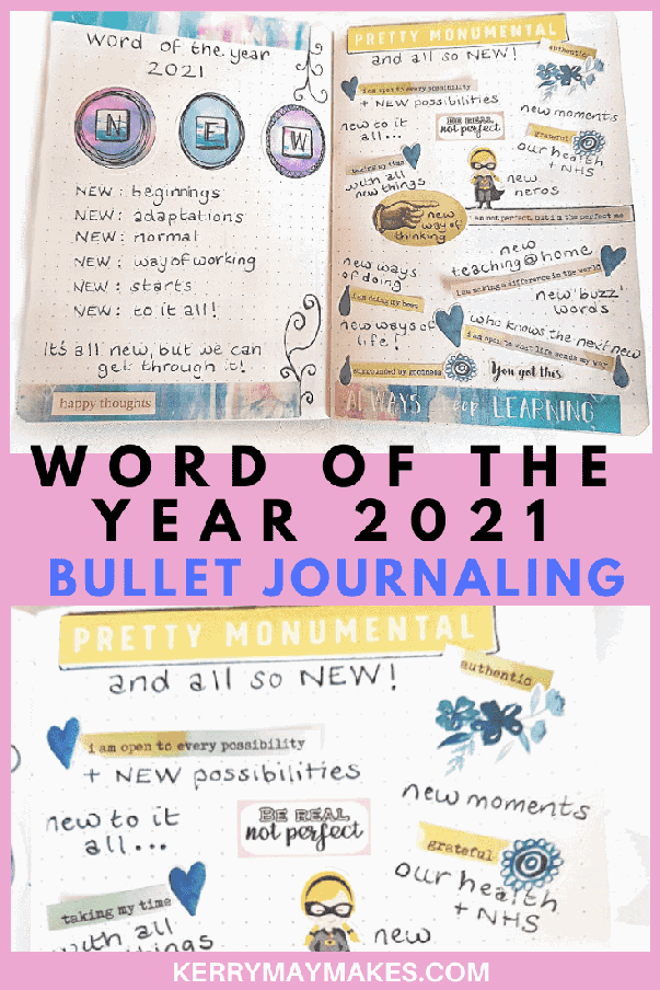 Bullet journal Word of the Year 2021 bujo page. My word of the year 2021 is NEW. Join me in a look through my bullet journal pages in the beginning of my new travelers notebook bujo insert. #wordoftheyear #bulletjournalsetup #bujosetup2021
